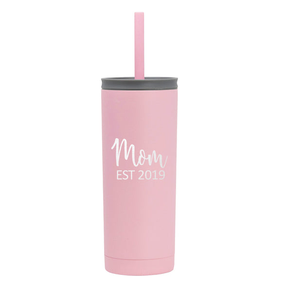 20 oz Voyager with Straw Lid - Mom Est 2019