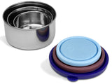 MIRA Stainless Steel Lunch Box Food Storage Containers | BPA Free, Eco-Friendly & Reusable Snack Food Nesting Containers for Kids & Adults | Set of 3 | Multi Color (Blue, Chocolate, Sky Blue)