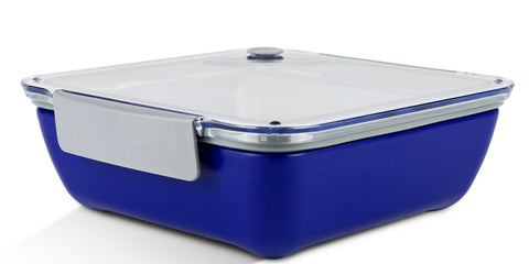 Zell Leak Proof Food Storage Container | BPA Free, Reusable, Microwave Safe Lunch Box | Easy to Open Snap Lock Lid | Removable Compartment Tray Divider Included | For Kids & Adults | Blue