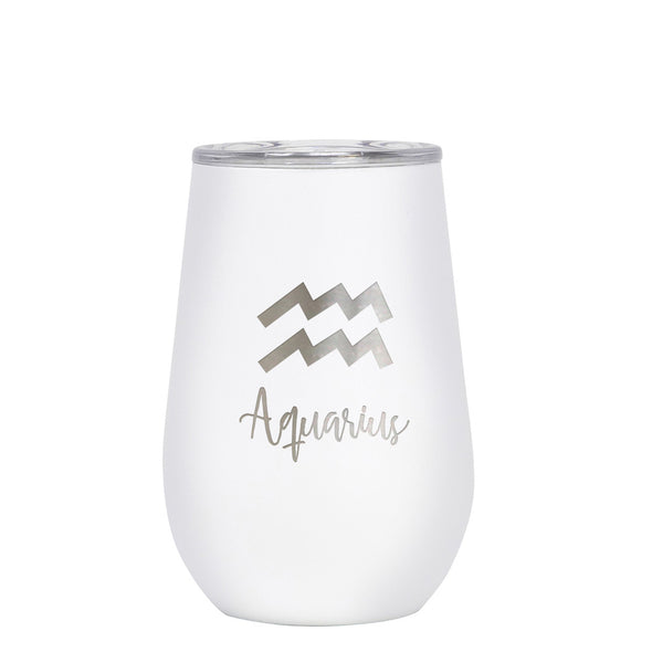 12 oz Wine Cup - Aquarius Sign