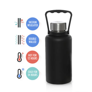Mira Vacuum Insulated Travel Beer Growler with Handle | Leak-proof Double Walled Stainless Steel Beverage Bottle | 40 Oz (1200 ml) | BONUS: Double Walled Stainless Steel Mug 15 Oz (440 ml)