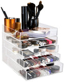 daisi Large 5 Tier Clear Acrylic Cosmetic Makeup Cube Organizer with 4 Easy to Open Drawers, Open Top Compartment Shelf | Large Multi-Function Beauty Products and Jewelry Storage | 9.5 x 9.5 x 9.5 in