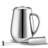 MIRA Double Wall Tea & Coffee Brewer French Press | Stainless Steel Insulated Coffee Pot & Maker | Keeps Brewed Coffee or Tea Warm for Hours | BONUS Handheld Milk Frother | 34 Oz (1 Liter)