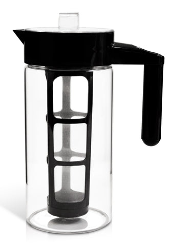 Zell Cold Brew Coffee Maker | Best Home Iced Coffee & Tea Maker with Removable Coffee Fine Mesh Filter | Strong Borosilicate Glass Cold Coffee Maker | BONUS Fruit Infusion Filter | 1 Quart (1000 ml)