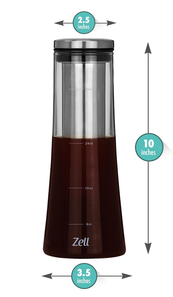 Zell Cold Brew Coffee Maker | Best Home Iced Coffee & Tea Maker with Removable Stainless Steel Coffee Filter | Strong Borosilicate Glass Cold Coffee Maker | 1 Quart (1000 ml)