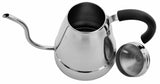 Zell Stainless Steel Tea & Drip Coffee Gooseneck Kettle | Precise Thin Spout for Pour Over Coffee | Gas or Electric Stovetop Compatible | 47 oz (1400 ml)
