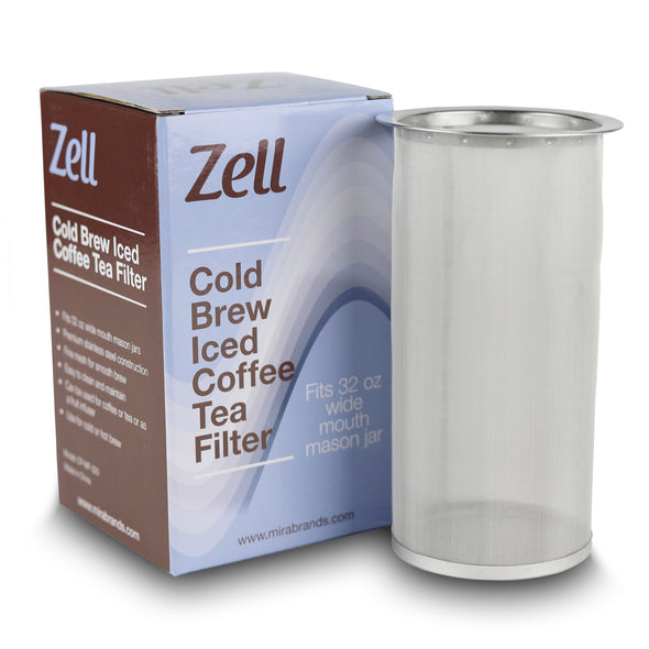 Zell Cold Brew Coffee, Iced Coffee and Iced Tea Maker Infuser | Durable Fine Mesh Stainless Steel Coffee Maker Filter | 32 Oz (1 Quart)