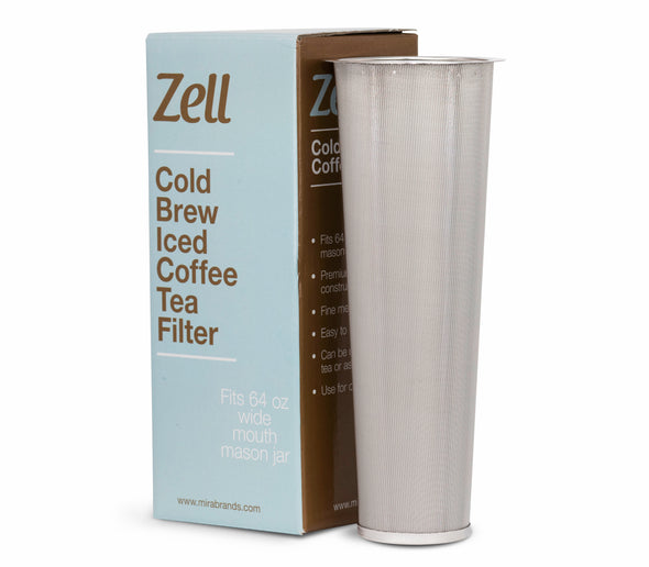 Zell Cold Brew Coffee, Iced Coffee and Iced Tea Maker Infuser - Tapered | Durable Fine Mesh Stainless Steel Coffee Maker Filter | 64 Oz (2 Quart)