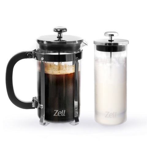 Zell French Press Tea & Coffee Maker with Stainless Steel Frame and Glass Milk Frother Set | Clear Strong Borosilicate Glass Coffee Brewer & Milk Frother | 34 Oz (1 Liter)