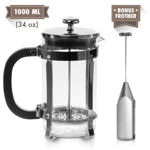 Zell French Press Tea Coffee Maker With Stainless Steel Frame And