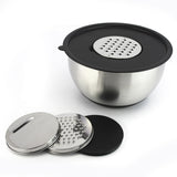 Zell Lightweight Stainless Steel Durable Mixing Bowl | Inner Measurements & Silicone Non-Slip Base | Perfect Size for All Mixing, Prepping & Serving Needs | 3 Grater Lid Attachments | 5 Quart (20 Cup)