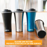 MIRA Stainless Steel Insulated Travel Car Mug | Leak & Spill Proof, Easy to Clean Lid | Double Wall Vacuum Insulated Coffee & Tea Mug Keeps Hot or Cold for Hours | 12 Oz (350 ml) | Stainless Steel