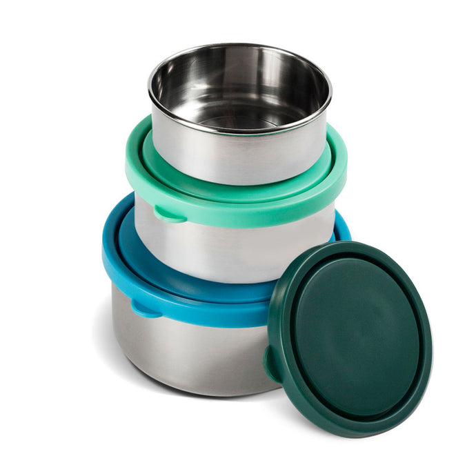 MIRA Stainless Steel Lunch Box Food Containers - Set of 3 - Multi Color (Blue, Teal, Emerald)