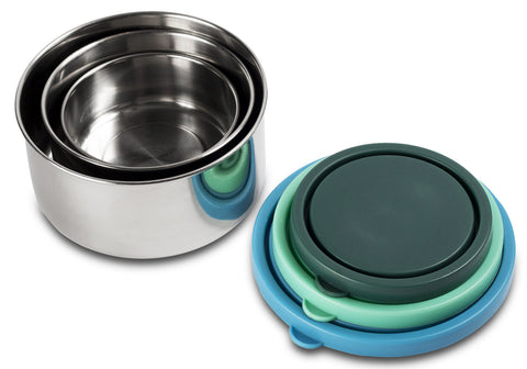 MIRA Stainless Steel Lunch Box Food Storage Containers | BPA Free, Eco-Friendly & Reusable Snack Food Nesting Containers for Kids & Adults | Set of 3 | Multi Color (Blue, Teal, Emerald)