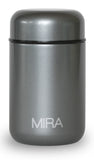 MIRA Vacuum Insulated Lunch Food Jar | Durable BPA Free Stainless Steel Lunch Container | Eco-friendly, Double Wall Lunch Jar Keeps Your Food Hot or Cold | 13.5 Oz (400 ml) | Metallic Gray