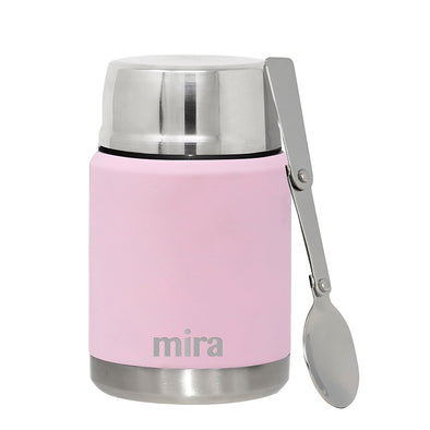 Mira Vacuum Insulated Lunch Food Jar with Spoon - Rose Pink