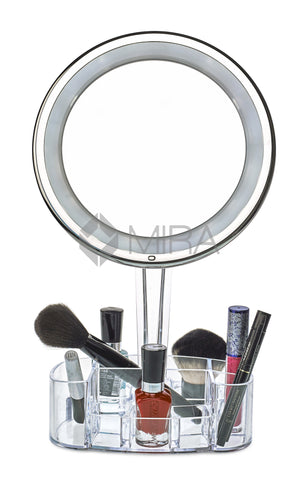 mirror on a stand vanity. daisi Magnifying Lighted Makeup Mirror  7X Magnification LED Portable Illuminated Bathroom Vanity Cosmetic Holder Base