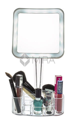 daisi Magnifying Lighted Makeup Mirror | 7X Magnification, LED Portable Illuminated Bathroom Mirror | Vanity Make-Up Mirror with Swivel Stand, Vanity Tray & Cosmetic Holder Base | Square