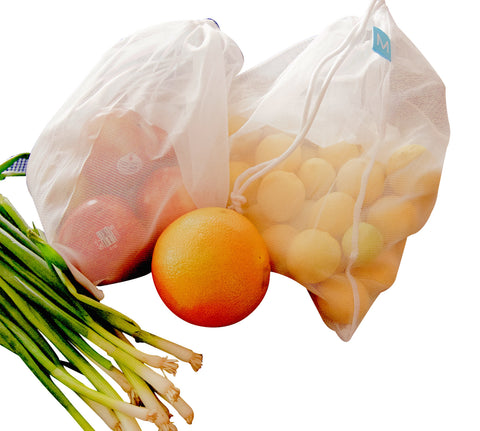 MIRA Reusable & Washable Grocery Shopping Produce Bags | Eco-Friendly, Lightweight Nylon Transparent Mesh Storage Bag for Fruit & Vegetables with Drawstring | Set of 5