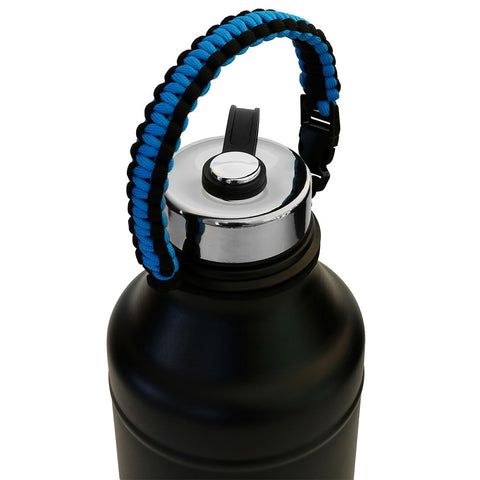 MIRA Durable Paracord Handle Water Bottle Carrier | Works with most Wide Mouth Sports Vacuum Insulated Water Bottles | BONUS: Carabiner / Key Ring | Sapphire