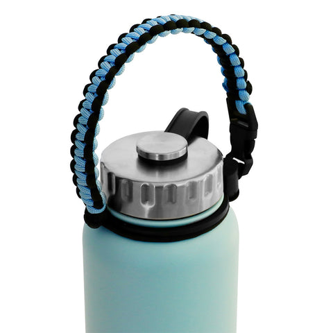 MIRA Durable Paracord Handle Water Bottle Carrier | Works with most Wide Mouth Sports Vacuum Insulated Water Bottles | BONUS: Carabiner / Key Ring | Pearl