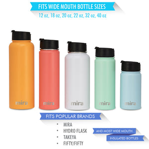 Mira Flip Lid for Wide Mouth Water Bottles - Compatible with Multiple Sizes: 12 oz, 18 oz, 20 oz, 22 oz, 32 oz & 40 oz