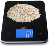 MIRA Digital Easy to Use Kitchen Food Scale | Portable Lightweight Food Scale Measures Grams, Pounds & Ounces Glass Platform Multifunction Scale | TARE function | 11 lb Capacity | Black