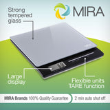 MIRA Digital Easy to Use Kitchen Food Scale | Lightweight Food Scale Measures Grams, Pounds & Ounces Glass Platform Multifunction Scale | TARE function | 11 lb Capacity