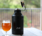 Zell 64 oz Vacuum Insulated Water Bottle | Double Walled Stainless Steel Powder Coated Beer Growler Beverage Bottle | No Sweating, Keeps Your Drink Cold & Hot