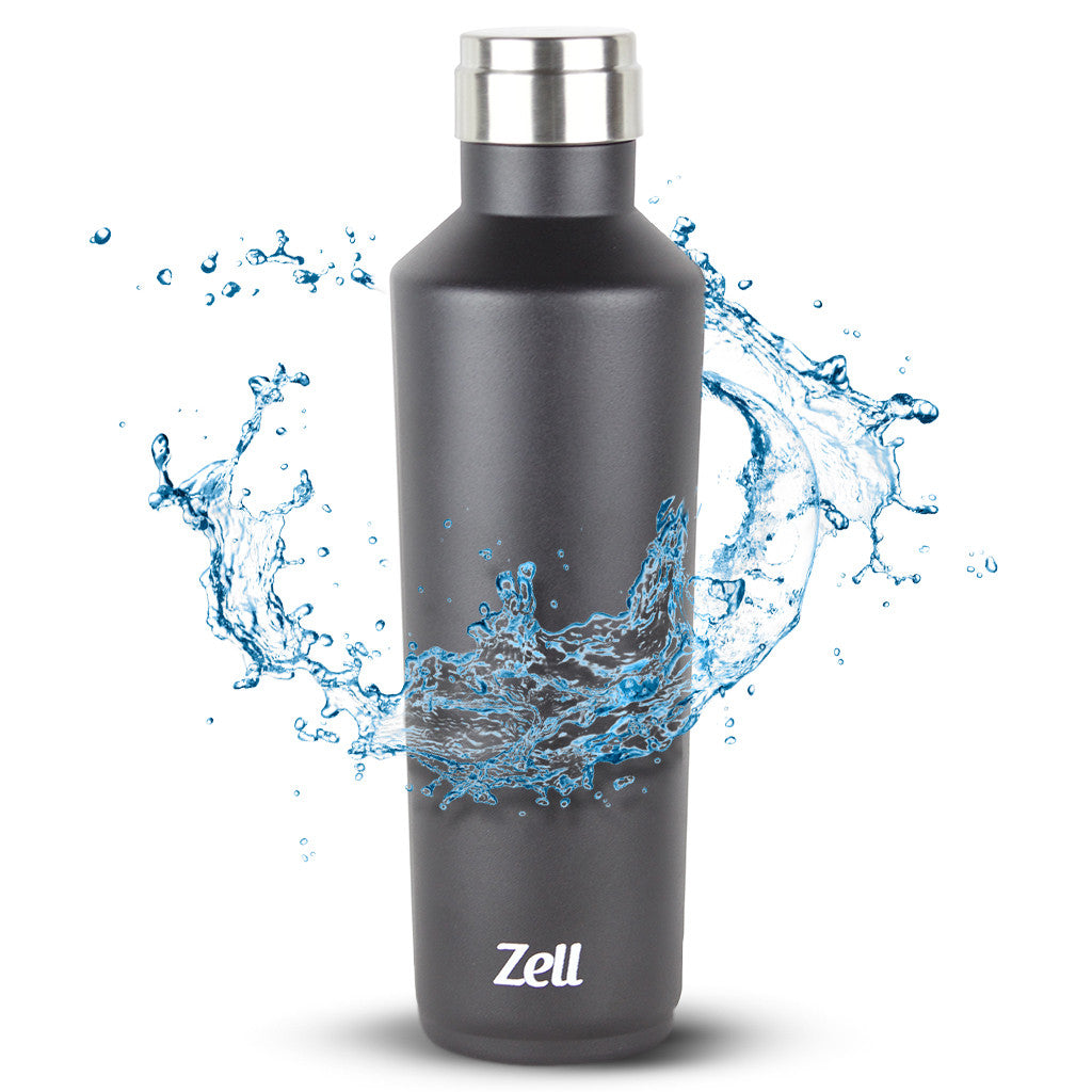 Zell Vacuum Insulated Travel Water Bottle | Leak-proof Double Walled Stainless Steel Wine Shape Portable Water Bottle | No Sweating, Keeps Your Drink Hot & Cold | 25 Oz (750 ml) | Black