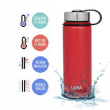 MIRA Vacuum Insulated Powder Coated Leak-Proof Water Bottle | Double Walled Stainless Steel Travel Wide Mouth Bottle | No Sweating, Keeps Your Drink Hot & Cold | 18 Oz (550 ml) | Red