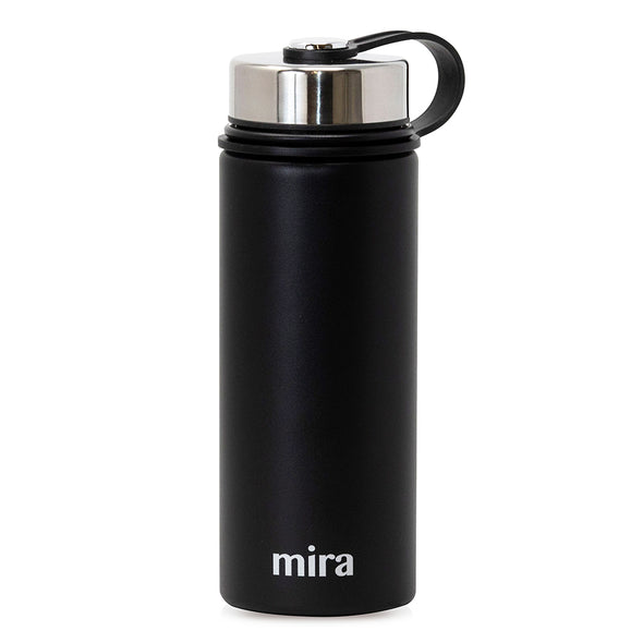 MIRA Sierra Water Bottle - 18 oz (550 ml) - Black - 2 Caps