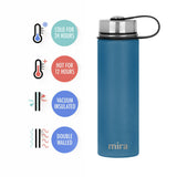 MIRA Sierra Water Bottle - 22 oz (650 ml) - Hawaiian Blue - 2 Caps