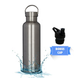 MIRA Vacuum Insulated Powder Coated Leak-Proof Water Bottle | Double Walled Stainless Steel Travel Bottle | No Sweating, Keeps Your Drink Hot & Cold | 2 Lids | 25 Oz (750 ml) | Steel