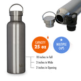 MIRA Alpine Water Bottle - 25 oz (750 ml) - Steel
