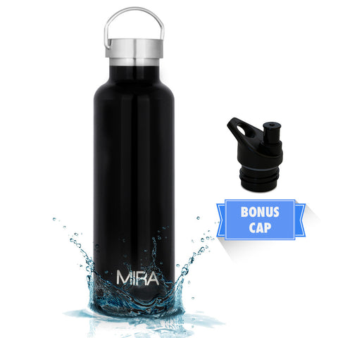MIRA Vacuum Insulated Powder Coated Leak-Proof Water Bottle | Double Walled Stainless Steel Travel Bottle | No Sweating, Keeps Your Drink Hot & Cold | 2 Lids | 25 Oz (750 ml) | Black