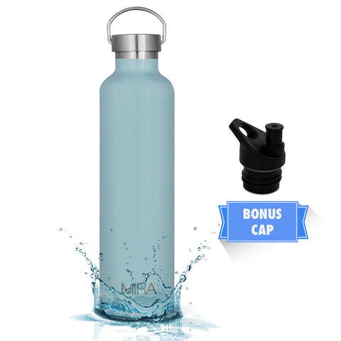 MIRA Vacuum Insulated Powder Coated Leak-Proof Water Bottle | Double Walled Stainless Steel Travel Bottle | No Sweating, Keeps Your Drink Hot & Cold | 2 Lids | 34 Oz (1 Liter) | Pearl Blue