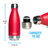 MIRA Vacuum Insulated Travel Water Bottle | Leak-proof Double Walled Stainless Steel Cola Shape Portable Water Bottle | No Sweating, Keeps Your Drink Hot & Cold | 12 Oz (350 ml) | Ruby Red