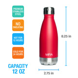 MIRA Cascade Water Bottle - 12 oz (350 ml) - Plain - Ruby Red