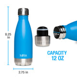 MIRA Vacuum Insulated Travel Water Bottle | Leak-proof Double Walled Stainless Steel Cola Shape Portable Water Bottle | No Sweating, Keeps Your Drink Hot & Cold | 12 Oz (350 ml) | Aqua Blue