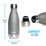 MIRA Cascade Water Bottle - 12 oz (350 ml) - Plain - Cool Gray
