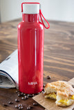 MIRA Vacuum Insulated Travel Water Bottle | Leak-proof Double Walled Stainless Steel Sports Water Bottle | Easy to Carry Handle Strap Lid | No Sweating, Keeps Your Drink Hot & Cold | 17 Oz (500 ml) | Red