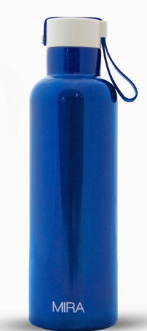 MIRA Vacuum Insulated Travel Water Bottle | Leak-proof Double Walled Stainless Steel Sports Water Bottle | Easy to Carry Handle Strap Lid | No Sweating, Keeps Your Drink Hot & Cold | 17 Oz (500 ml) | Blue