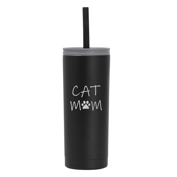 20 oz Voyager with Straw Lid - Cat Mom
