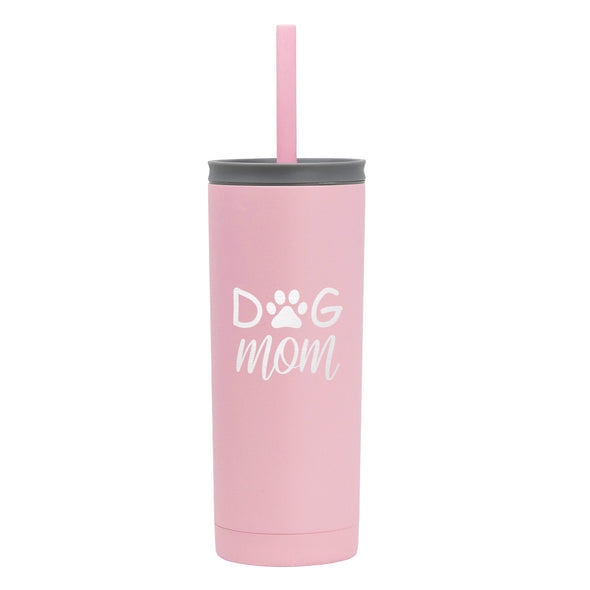 20 oz Voyager with Straw Lid - Dog Mom