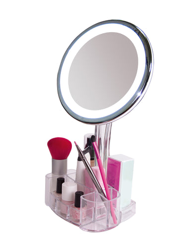 stand up vanity mirror.  daisi Magnifying Lighted Makeup Mirror 7X Magnification LED Portable Illuminated Bathroom Vanity Cosmetic Holder Base