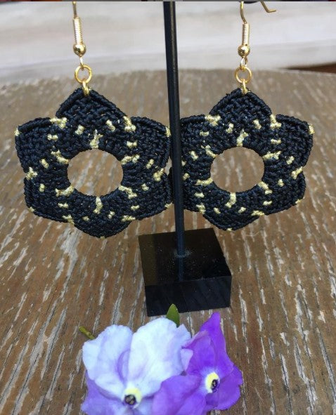 Vicki Bos Black and gold mosaic star earrings