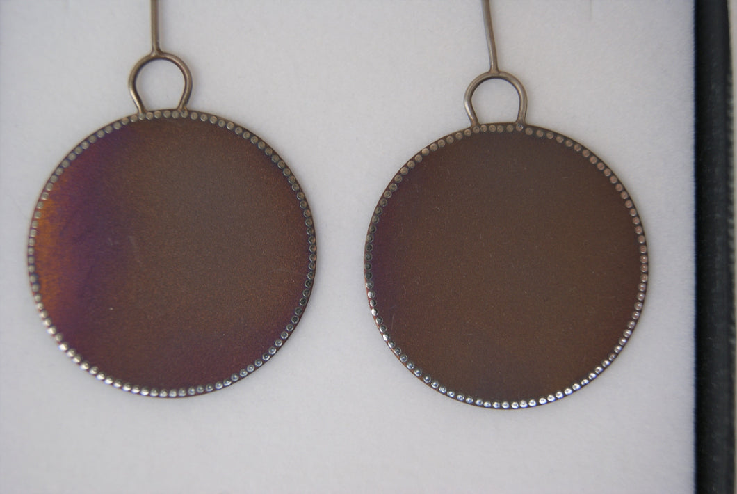 Meander round drop earrings - bronze anodised titanium