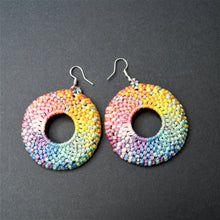 Load image into Gallery viewer, Vicki Bos Round pastel rainbow macrame earrings
