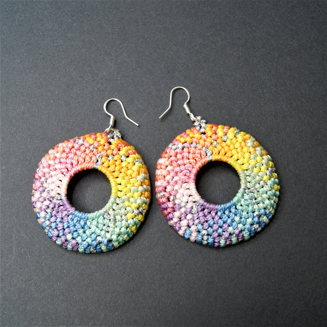 Vicki Bos Round pastel rainbow macrame earrings